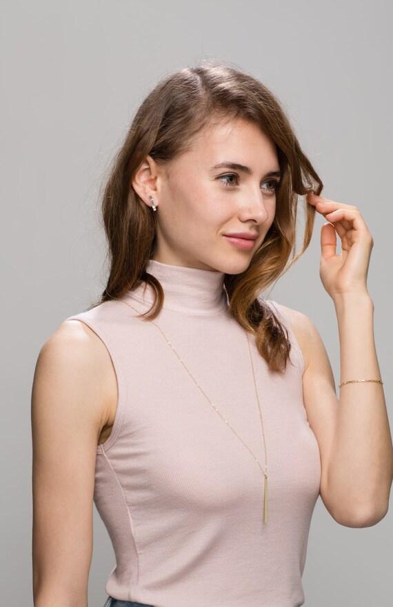 Vertical bar Long necklace - long Initial bar necklace // Personalized Long Name bar necklace