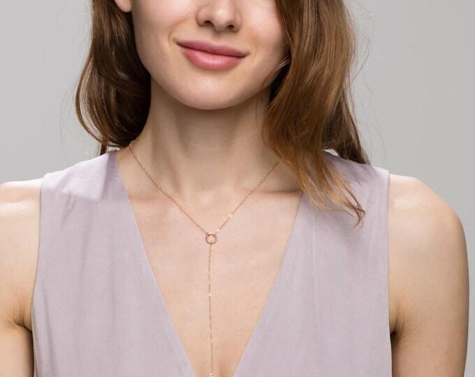 Gold lariat necklace, Silver lariat necklace - halo Y lariat necklace, 14K Gold filled / Sterling silver   EL013