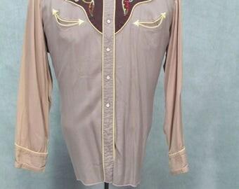 1950s Western Shirt Plus Size Vintage Cowboy Rockabilly Gabardine Shirt