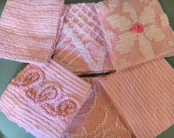 """36 Beautiful 6"""" Pink Chenille Squares for Quilting"""