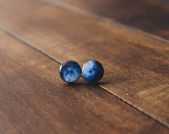 Space stud earrings in blue, universe posts,CuteBirdie