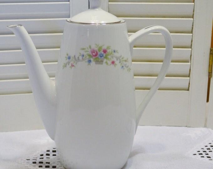 Vintage Florenteen Fantasia Coffee Tea Pot 6 Cup Pink Floral Design Japan Panchosporch