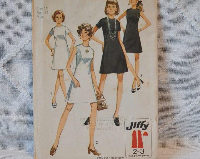Vintage Simplicity 8682 Sewing Pattern Crafts Misses Dress Size 12 DIY Sewing Crafts PanchosPorch