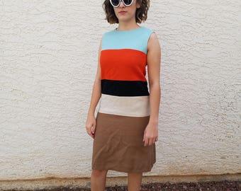 Vintage Louis Feraud French Chic Mod 1960s 60s Colorblock Dress S