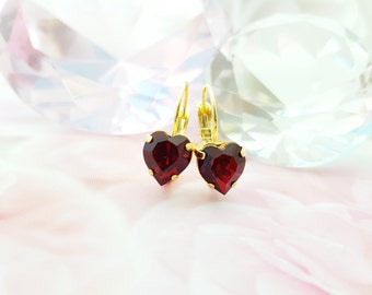 Ruby Heart Earrings, Swarovski Siam Crystal Heart Leverback Earrings, Romantic Red Gift, Red Hearts, Engagement Gift, Be My Valentine, E3435