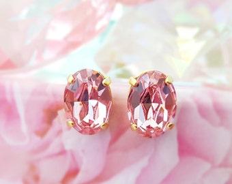 Light Pink Rose Studs, Oval Pink Crystal Earrings, Gold Stud Earrings, Pink Tourmaline, October Birthstone, Swarovski Rhinestone, E3459