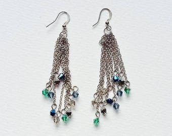 Silver Chain Dangle Earrings Dangly Aurora Borealis Green Blue Beads Bollywood Disco Party Bling Jewellery Jewelry Silver Tone Tribal