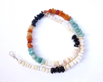 Surfer Necklace, Beach Sunrise, Multi Gemstone with Multi Colored Chips including Amazonite, Aventurine and Obsidian, Mens Necklace