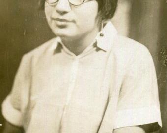 Vintage Photo..Nerdy Girl, 1920's Original Found Photo, Vernacular Photography