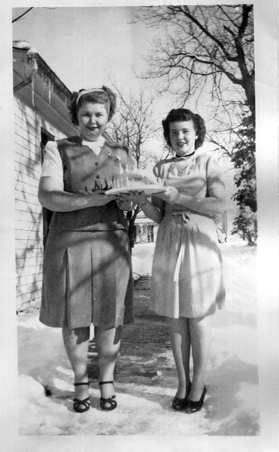 Vintage Photo..Cake Ladies, 1940's Original Found Photo, Vernacular Photography