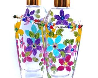 Colorful Painted Perfume Bottle Bohemian Boho Funky Flower Decor FREE SHIPPING