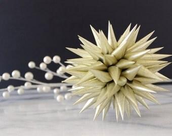 Polish Star Ornament Metallic Gold | Jezyk Paper Star Folk Art Spiky Ornament Tree Topper, 4.5 inch