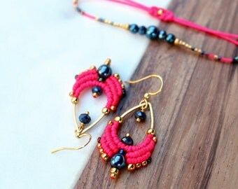 Macrame earrings neon pink gold and midnight blue - Drop shape - Boho chic bohemian style designer jewelry - Gift for her