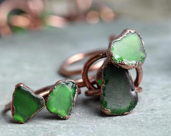Seaglass Ring Electroformed Copper Ring Glass Ring Beach Glass Jewelry Delicate Ring Emerald Green
