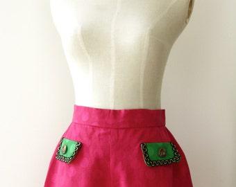 Hot pink shorts. Pink Green polka dot shorts. Fuchsia pink shorts. Pink vacation shorts. Pink Bermudas. Festival shorts. Roller derby shorts