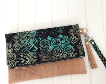 Fold Over Clutch Purse,  Fold Over Party Clutch, Fold over Clutch, Handmade Clutch, Batik Fabric Fold over clutch, Handmade Purse