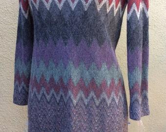 Vintage Tony Ruocco for Alper Schwartz amazing knit dress zig zag long sleeved wonderful yarns gray green purples chevron knitsz m