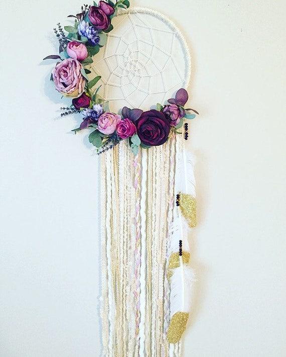 Diy Baby Nursery Floral Wall Decor: Floral Dreamcatcher Purple Dreamcatcher Wall Art Boho