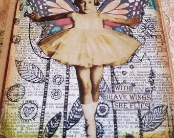 With Brave Wings She Flies Angel Art Card