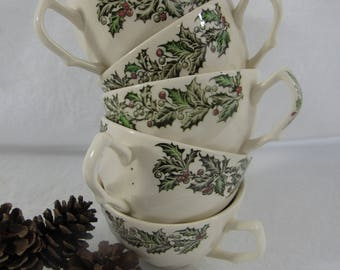 Antique Johnson Brothers Merry Christmas Pattern Tea cups Coffee Cup Breakfast Cup Holly Made in England