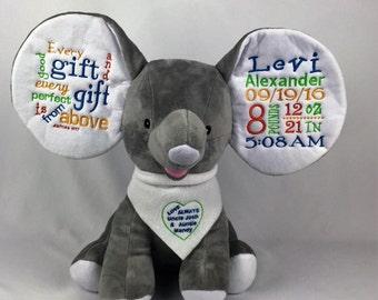 Baby Boy Personalized Stuff Elephant | Baby Stuff Animal; Embroider Elephants; Baby Boy Personalized Cubbie Elephant; Personalized Cubbie