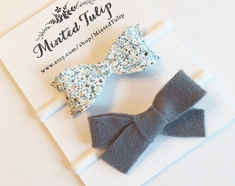Blue and White Glitter and Grey Felt Bow Set Headbands or Clips