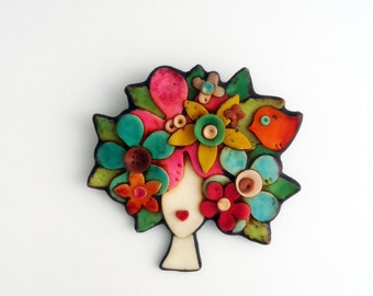 Polymer clay magnetic brooch
