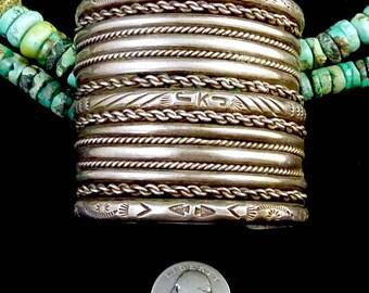 JUMBO 189g Vintage Navajo Cuff Bracelet w 17 (SEVENTEEN!) Sterling Silver Shanks! Wide, Incredible Beauty! Master Silversmithing!