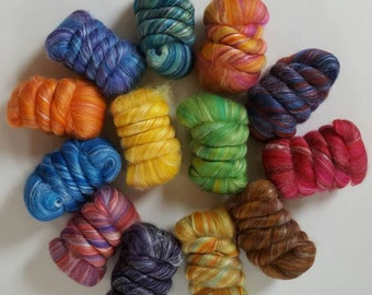 Merino-Silk Wool Roving / Combed Top / Sample Pack - 12 ounces