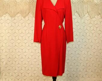 90s Dress Red Dress Long Sleeve Dress Large Fitted Midi Dress Womens Dresses Minimalist Liz Claiborne Size 12 Dress 1990s Vintage Clothing