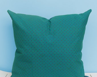 Turquoise with hints of red and green African Shweshwe scatter cushion 50 x 50cm. African decor, African cushion cover, Shweshwe cushion