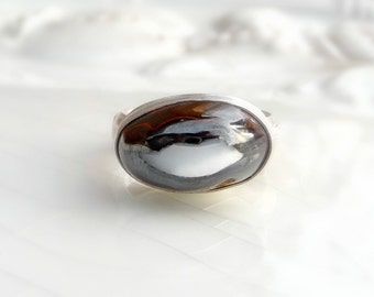 Boulder OPal Ring - Unique Boulder Stone from Australia, One of a Kind Gift - Size 7