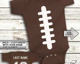 Football Onesies - Infant Baby Personalized with Name and Number - Creeper - Bodysuit - Custom Jersey