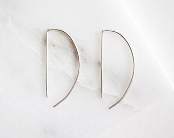 Silver Semi Circle Threader Earrings - Sterling Silver Wire Arc Earrings - Bar Geometric Earrings
