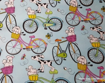 Flannel Fabric - Dogs Riding Bikes - 1 yard - 100% Cotton Flannel