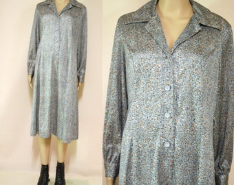 70s Vintage Shirt Dress Retro Print Abstract Grey Long Sleeve Mid Length Vtg 1970s Hippie Size M-L