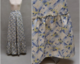 Vintage skirt, 1970's Full length / Maxi skirt, Pretty cream / blue floral printed design, 70's Hippie / Hippy skirt, St Michael, 26 waist