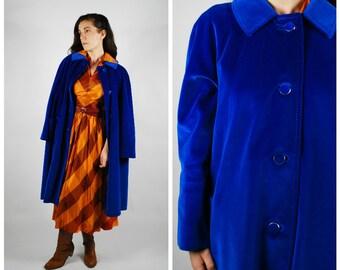1960's Coat - 60's Velvet Jacket - Electric Cobalt Blue - Swing Coat - Size L
