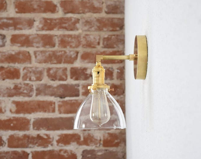 Free Shipping! Gold Brass 1 Light Wall Sconce Clear Bell Shade Vanity Century Industrial Modern Art UL Listed