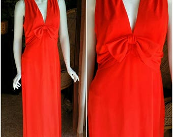 60's Edith Flagg Red Dress, Red Bow Maxi Dress, Vintage Red Gown, Beautiful Bow Gown, Red Bow Dress, Edith Flagg California, MD