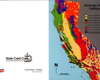 PACKAGE OF 3, Geological Map of California, CA, High Def Greeting Card