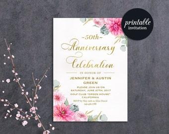Floral Anniversary Invitation, 50th Wedding Anniversary Invitation, 25th, 30th Anniversary Invitation, Gold Pink Anniversary Invite