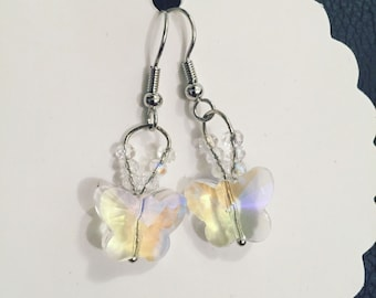 Iridescent Crystal Butterfly Earrings