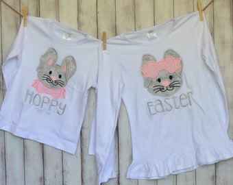 Personalized Easter Bunny with Bow Tie Applique Shirt or Onesie Girl or Boy