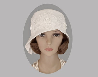 Off-white cloche hat with pleated brim, 1920s hat, Great Gatsby hat, 1920s bridal hat, 1920s wedding, Charleston hat, white cloche, 20s hat