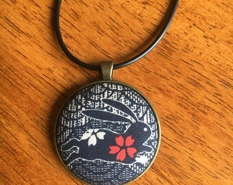 Japanese bunny fabric button pendant