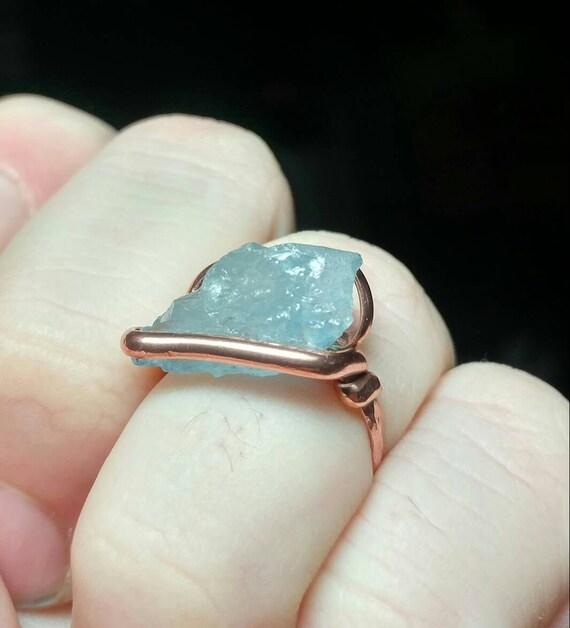 "Raw Aquamarine Ring | Copper Ring Sz 6 | Rough Aquamarine Ring | Raw ""Diamond"" Ring | Raw Stone Ring | March Birthday Gift | Uncut Stone"