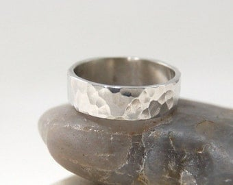 Hammered Sterling Silver Ring, Hammered Wedding Ring, Hammered silver band, Womans hammered wedding band, Mens hammered wedding band