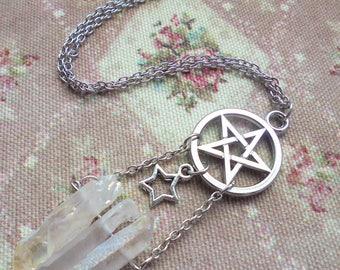 Witchy Pentacle/Pentagram Angel Aura Necklace (version 3)