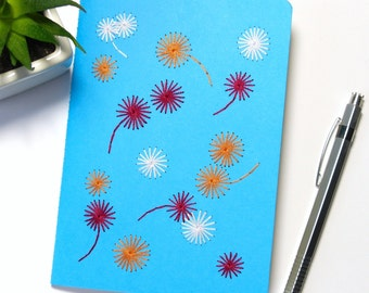 Hand embroidered notebook tricolor graphic flowers pattern-azure blue-writing-sketch-textile design-embroidered stationery-woman teen gift